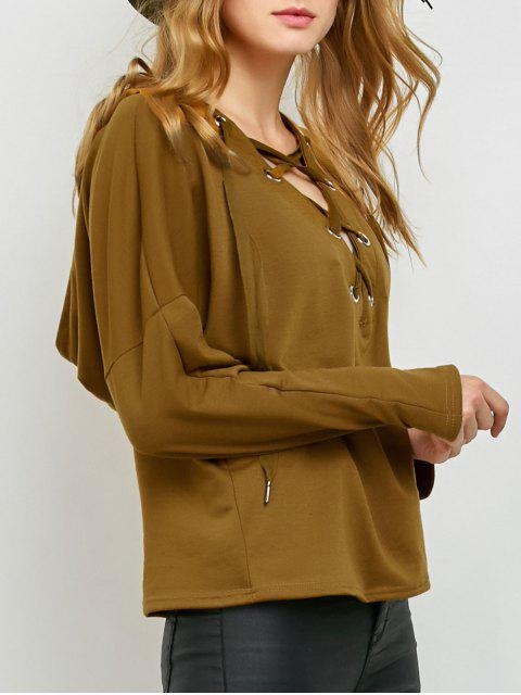 latest V Neck Lace Up Hoodie - KHAKI XL Mobile