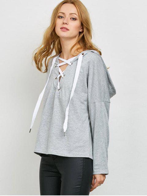 unique V Neck Lace Up Hoodie - LIGHT GRAY L Mobile