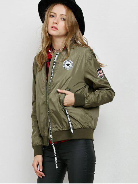 ladies Zipper Patch Bomber Jacket - ARMY GREEN M Mobile