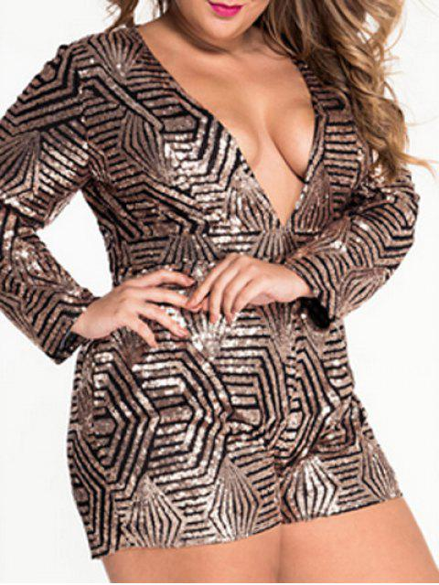 best Plunging Neck Cut Out Sparkly Romper - METALLIC L Mobile