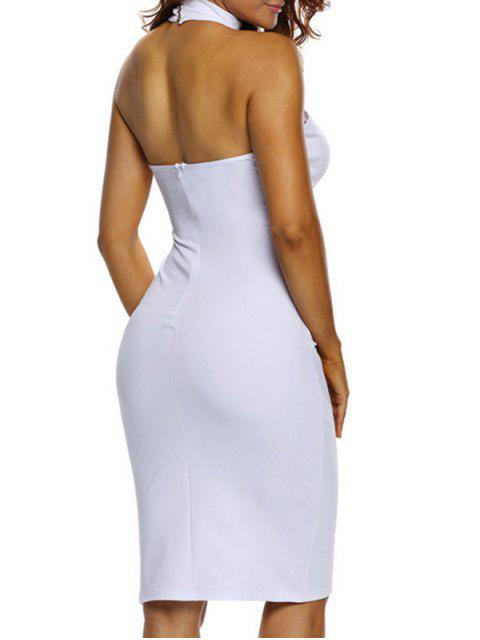 buy Halter Cut Out Backless Bodycon Dress - WHITE S Mobile