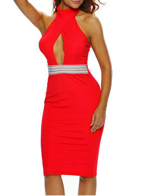 womens Halter Cut Out Backless Bodycon Dress - RED L Mobile
