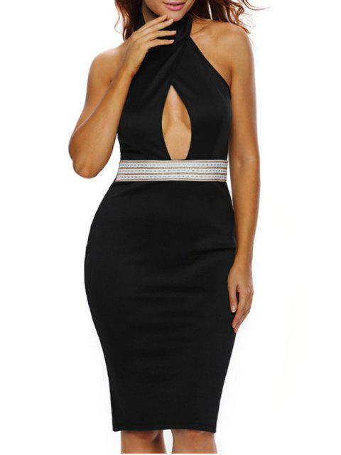 best Halter Cut Out Backless Bodycon Dress - BLACK S Mobile