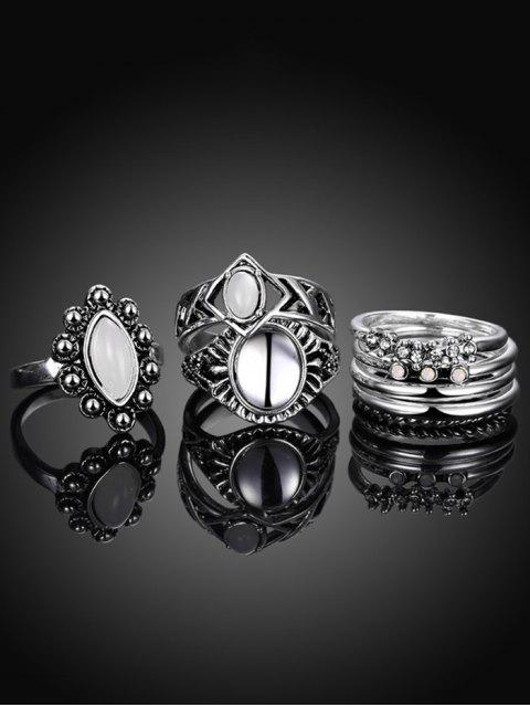 shops Faux Opal Oval Ring Set -   Mobile