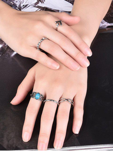 trendy Infinite Rhinestone Ring Set -   Mobile