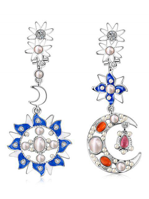 hot Artificial Pearl Opal Star Moon Earrings -   Mobile