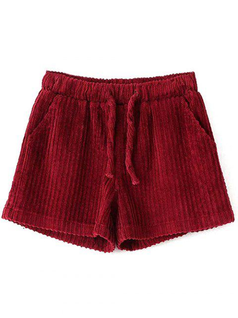 hot Winter Corduroy Shorts - WINE RED L Mobile