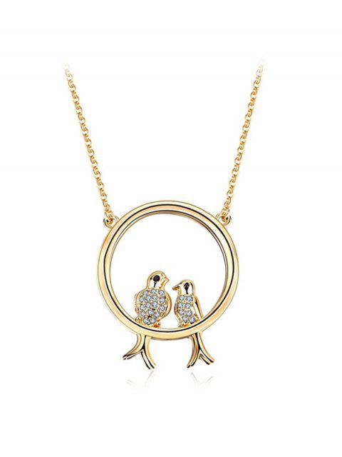 outfit Rhinestone Birds Circle Pendant Necklace -   Mobile