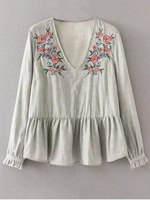 lady Peplum Hem Embroidered Blouse - GRAY L Mobile