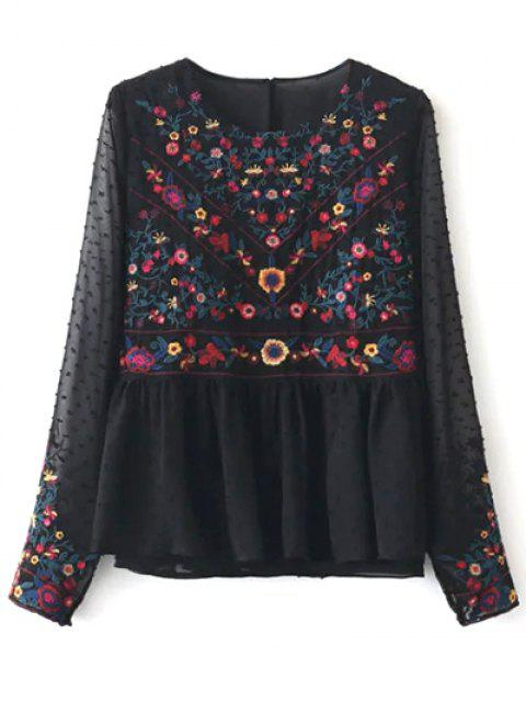 online Peplum Embroidered Plumetis Blouse - BLACK L Mobile