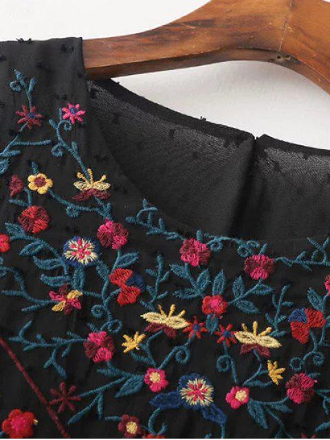 hot Peplum Embroidered Plumetis Blouse - BLACK S Mobile