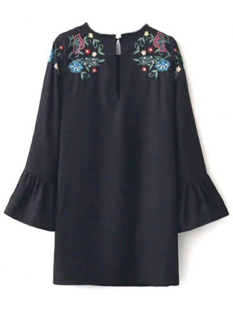 buy Frilled Embroidered Dress - BLACK M Mobile