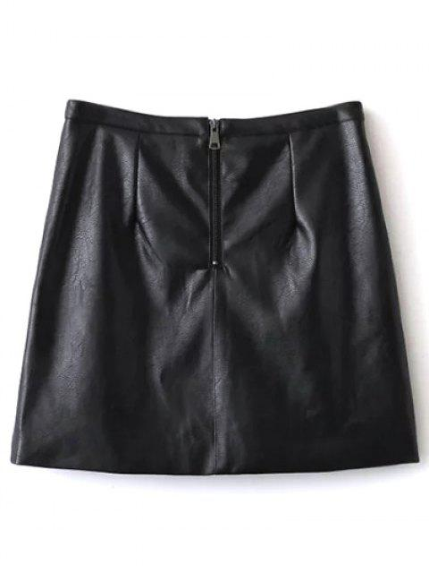 trendy Embroidered PU Leather Mini Skirt - BLACK L Mobile