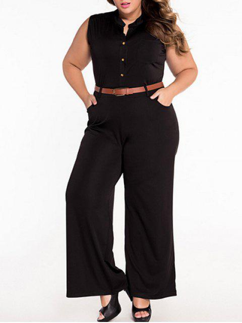 online Sleeveless Belted Plus Size Jumpsuit - BLACK 2XL Mobile