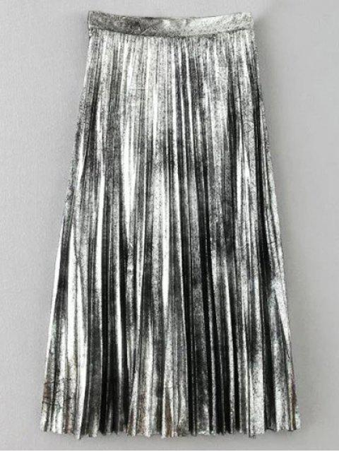 womens Metallic Color Pleated Skirt - SILVER S Mobile