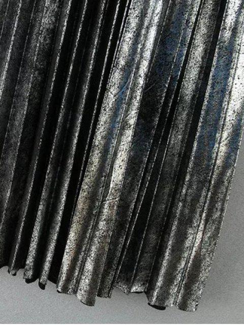 buy Metallic Color Pleated Skirt - SILVER M Mobile