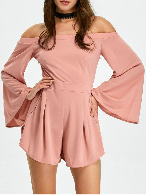 outfits Flare Sleeve Off Shoulder Playsuit - PINK S Mobile