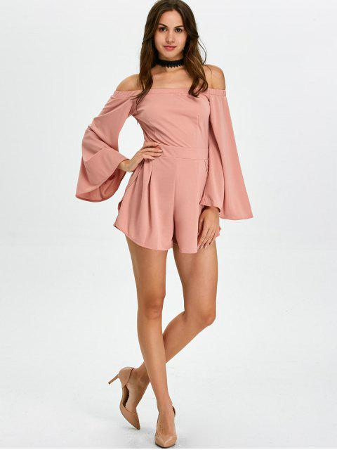 outfit Flare Sleeve Off Shoulder Playsuit - PINK M Mobile