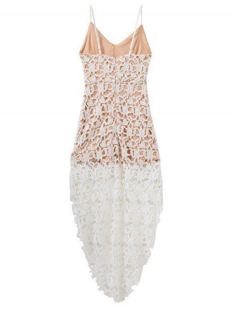 buy High Low Crochet Dress - WHITE M Mobile
