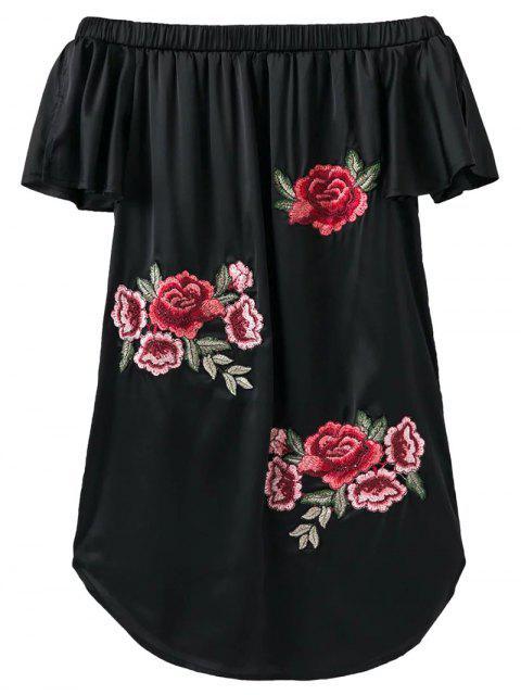 Robe asymétrique Brodé sans l'épaule - Noir S Mobile