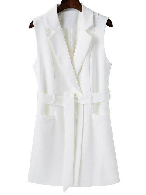 ladies Sleeveless Blazer - WHITE L Mobile