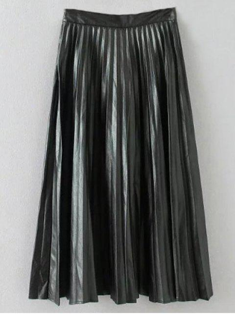 shop Pleated PU Leather Long Skirt - BLACK S Mobile