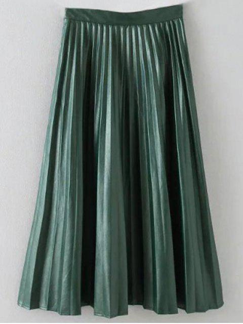 chic Pleated PU Leather Long Skirt - ARMY GREEN M Mobile