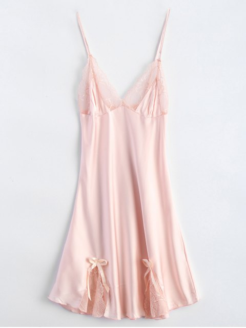 affordable Bowknot Lace Panel Babydoll - PINK M Mobile