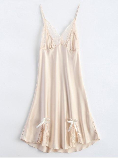 womens Bowknot Lace Panel Babydoll - APRICOT M Mobile