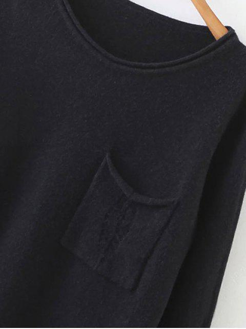 new Round Neck Ripped Sweater with Pocket - BLACK ONE SIZE Mobile