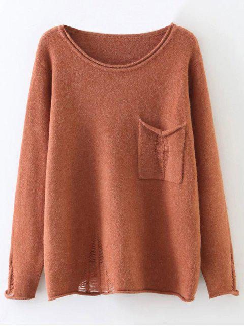 outfit Round Neck Ripped Sweater with Pocket - BRICK-RED ONE SIZE Mobile