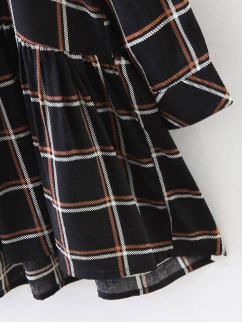hot Bow Tie Collar Plaid Dress - CHECKED M Mobile