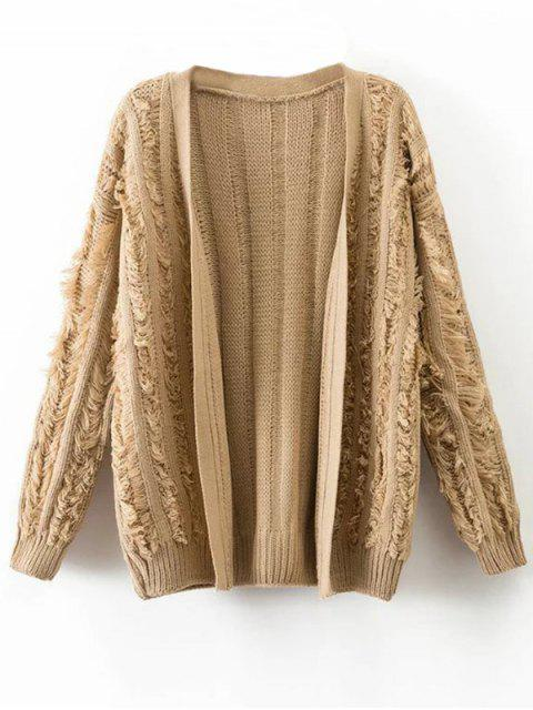 outfits Tassel Collarless Knitted Cardigan - KHAKI ONE SIZE Mobile