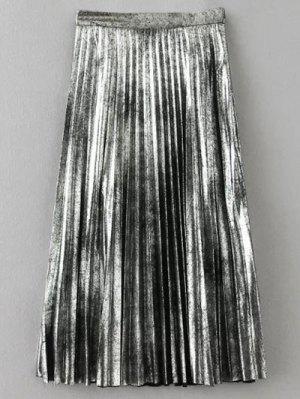 Metálica Falda Plisada De Color - Plata Xs