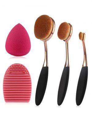 3 Pcs Brosses à dents en forme de maquillage  + éponge de maquillage en forme de larme + brosse d'oeuf