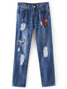 Pantalones Vaqueros Bordados Mariposa Rasgados  - Denim Blue M