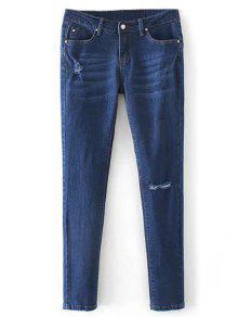 Jeans Taille Basse Cigarette Déchiré - Denim Bleu M