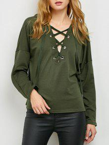 V Neck Lace Up Hoodie - Army Green M