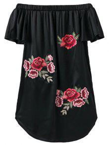 Robe Asymétrique Brodé Sans L'épaule - Noir S