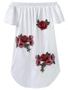 Robe Asymétrique Brodé Sans L'épaule - Blanc S