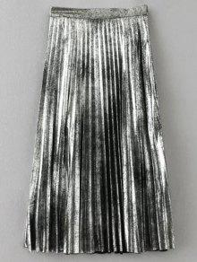 Metallic Color Pleated Skirt - Silver Xs