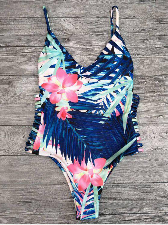 sale Cut Out Tropical Print One-Piece Swimwear - BLUE L