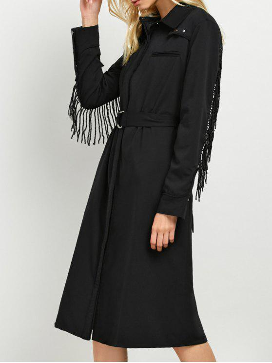 Belted Fringed Shirt Dress - Preto M