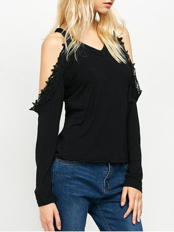 women Lace Trim Cold Shoulder Tee - BLACK S