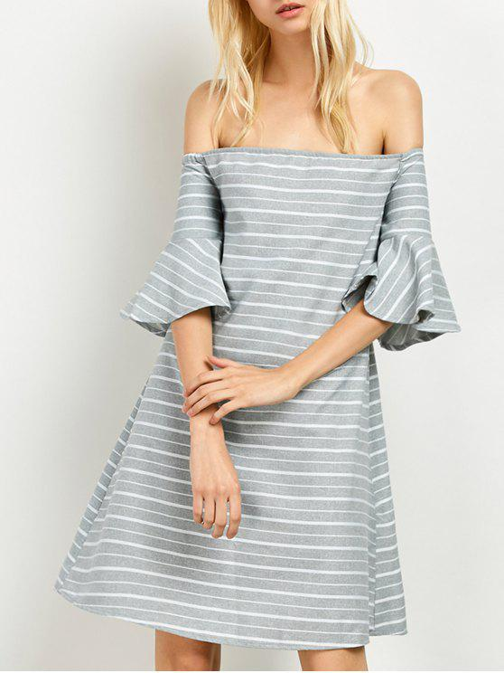 womens Frilled Sleeve Striped Off The Shoulder Dress - GREY AND WHITE L
