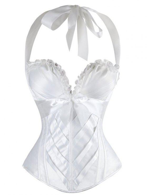 7a2baf60d Halter Bowknot Embellished Lace Up Corset Bra - White Xl