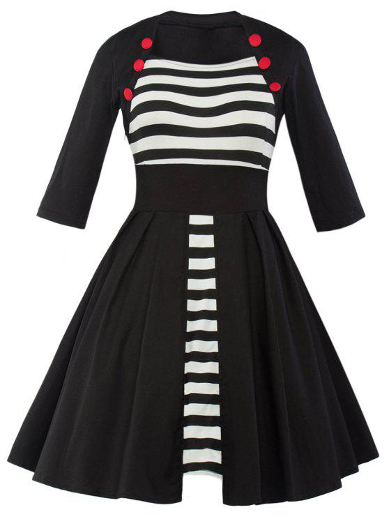 Vintage Panneau rayé Robe trapèze - Noir L