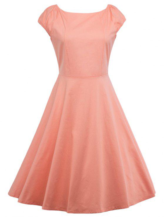A Line Puffer Cap Sleep Plain Prom Dress ORANGEPINK: Dresses 2018 ...