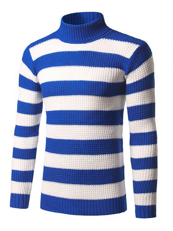 Camisola suéter listrada mangas compridas de gola alta com nervuras - Azul XL