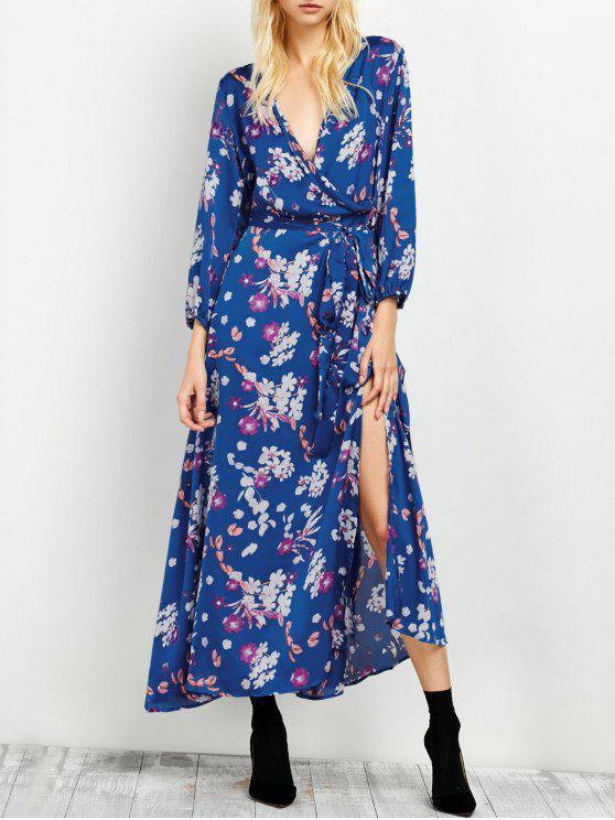 Vestido Maxi Floral Cuello V al Costado - Azul M
